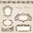 Vintage vector frames border. Retro wedding invitation template — Stock Vector