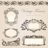 Vintage vector frames border. Retro wedding invitation template — Stock Vector