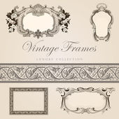 Vintage vector frames with border. Retro design template. — Stock Vector