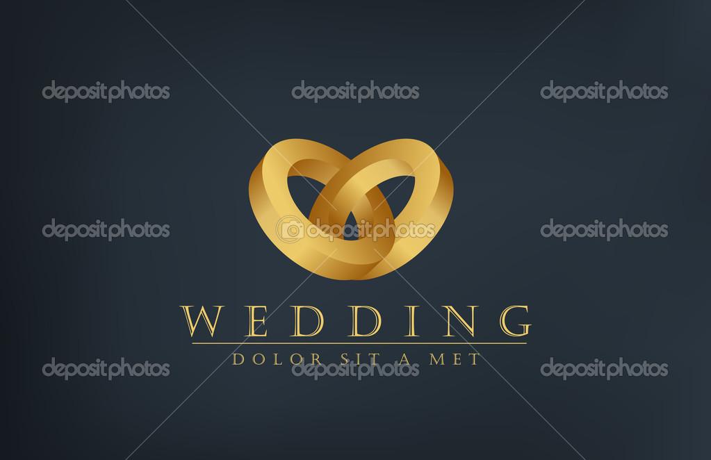Wedding Rings Logo Wedding Gold Rings Vector Logo