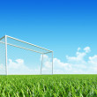 Football (soccer) goal on clean empty playing field. — Stock Photo