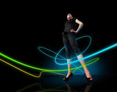 Media collection - Glowing lines girl — Stock Photo