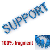 SUPPORT word mounted by tiny characters — Stock Photo