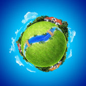 Mini planet concept. Three houses on the different poles with sm — Stock Photo