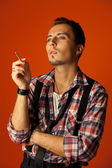 Celebrity resemblance. Johnny Deep lookalike. Stylish young man — Stock Photo