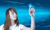 将来の技術のタッチ スクリーン インターフェイスです。女の子で画面に触れる — ストック写真
