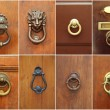 Door handles set. Different vintage door handles collection — Stock Photo