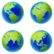 Stock Photo: Extrhigh resolution four parts of world.