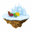 New Year little snowy levitate stylized island, planet. — Stock Photo
