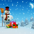 Snowman near gifts — Stock Photo