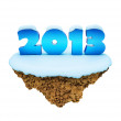 New Year 2013 little snowy levitate island, planet.  — Stock Photo