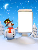Funny snowman standing by the blank citylight. — Stock Photo