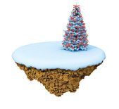 New Year little snowy levitate island, planet. — Stock Photo