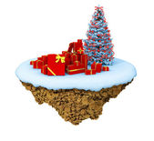 New Year little snowy levitate island, planet. — Stock Photo