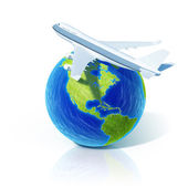 Airline concept. Airplane over world globe. — Stock Photo