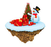 New Year little snowy levitate island. — Stock Photo