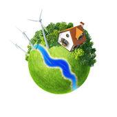 Little planet with autonomous house. — Stock Photo