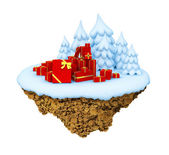 New Year little snowy levitate stylized island, planet. — Stock Photo
