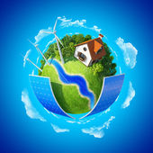 Little planet with autonomous house — Stock Photo