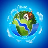 Little planet with autonomous house — Stock Photo