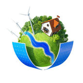 Little planet with autonomous house. — Stock Photo