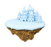 新年が少し雪浮揚様式化された島、惑星. — ストック写真
