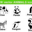 6 bw vector animals icons. — Stok Vektör
