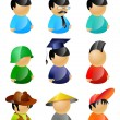 9 vector characters pack - icons, avatars collection — Stock Vector