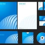 Vector blue company identity template. — Stock Vector