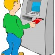 Stock Vector: Mputs credit card into ATM.