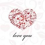 Valentine card heart ornament. — Stock Vector