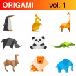 Origami animals logo template : penguin, kangaroo, giraffe, — Stock Vector