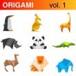 Origami animals logo template : penguin, kangaroo, giraffe, — Stock Vector