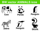 6 bw vector animals icons. — Stock Vector