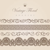 Vintage borders vector design elements collection. — Stock Vector