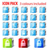 20 multi purpose icons collection: umbrella, fire, gem, coffee, — Stock Vector