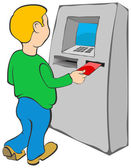 Man puts credit card into ATM. — Stock Vector