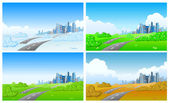 Cityscape in four seasons. — Stock Vector