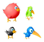 4 funny birds vector. — Stock Vector
