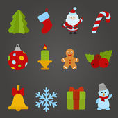 Christmas vector flat design icon set. Happy new year collection — Stock Vector