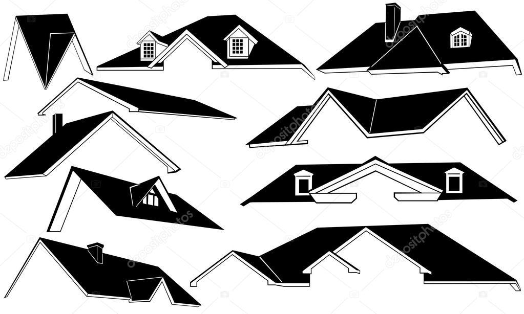 Techos aislados vector de stock 15443921 depositphotos - Dibujos de tejados ...