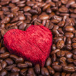 Coffee beans and red heart — Stock Photo #17645447