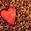 Coffee beans and red heart — Stock Photo #17648685