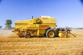 An image of combine harvesting corn — Stock Photo