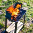 Stock Photo: Grill in flame