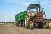 Tractor with trailers — Stock Photo