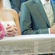 Newly weds in church — Stock Photo