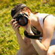 Nature photographer takes pictures — Stock Photo