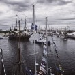 Panoramic view over tall ships on Odra river — Foto Stock