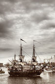 Tall ships sailing on Odra river in Szczecin during the final of The Tall Ships Races 2013 in Szczecin — Stock Photo